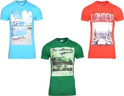 Avenster Sport Graphic Print Men's Round Neck Red T-Shirt