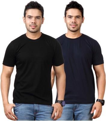 Top Notch Solid Men's Round Neck Black, Dark Blue T-Shirt