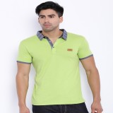 Le Bison Solid Men's Polo Neck Green T-S...