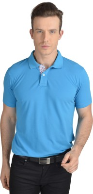 Pacific Time Solid Men's Polo Neck Light Blue T-Shirt