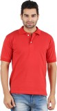 Gnj Solid Men's Polo Neck Red T-Shirt