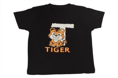 TSG Breeze Printed Baby Girl's Round Neck Black T-Shirt
