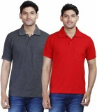 Fleximaa Solid Men's Polo Neck Grey, Red...
