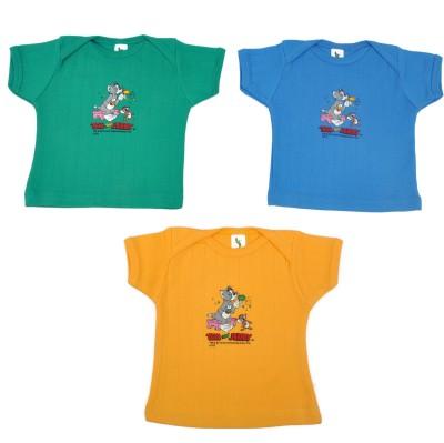 Cucumber Printed Baby Boy's Round Neck Green, Blue, Yellow T-Shirt
