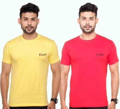 Timbre Solid Men's Round Neck Red, Yellow T-Shirt