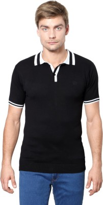 Van Heusen Solid Men's Polo Neck Black T-Shirt