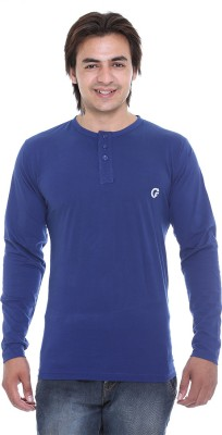 AVE Solid Men's Henley Blue T-Shirt
