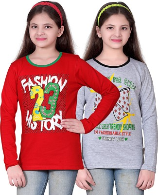 sinimini Printed Girls Round Neck Multicolor T-Shirt