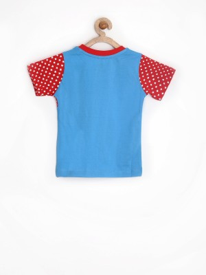 Yellow Kite Printed Boy's Round Neck Blue T-Shirt