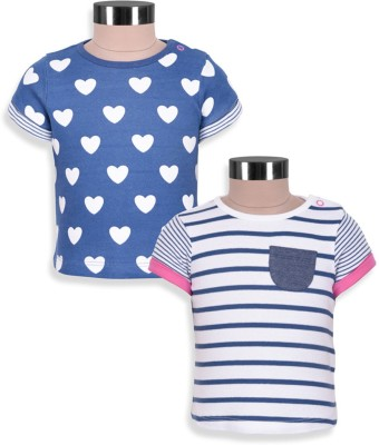 Mothercare Printed Baby Girl's Round Neck White, Blue T-Shirt