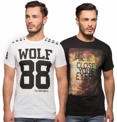 Yo Republic Printed Men's Round Neck White, Black T-Shirt