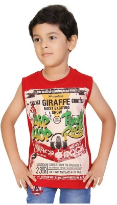 Mint Printed Boy's Round Neck Red T-Shirt