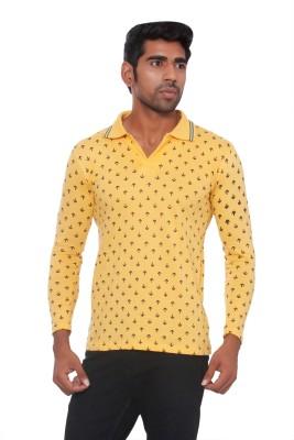 Pezzava Self Design Men's Flap Collar Neck Reversible Yellow, Black T-Shirt