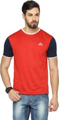 Canyons Solid Men's Round Neck Red T-Shirt