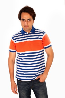 Maggivox Striped Men's Polo Orange, White T-Shirt