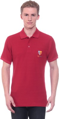 Ted Smith Solid Men's Polo Neck Maroon T-Shirt