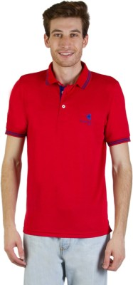 Goodluck Solid Men's Polo Neck Red, Blue T-Shirt
