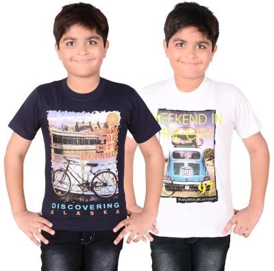 Aedi Solid Boy's Round Neck White, Blue T-Shirt