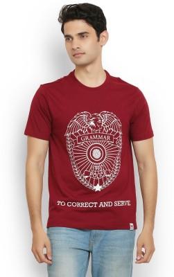 Police Printed Men's Round Neck Maroon T-Shirt