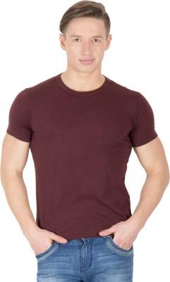 Hypernation Solid Men's Round Neck Brown T-Shirt