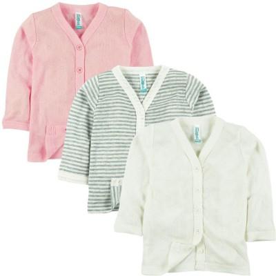 Snuggles Striped Baby Girl's V-neck Multicolor T-Shirt