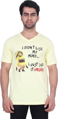 T Clobbers Graphic Print Men's Round Neck, V-neck Yellow T-Shirt