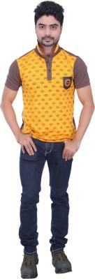 AFLASH Printed Men's Polo Yellow, Brown T-Shirt