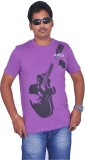 Aara Printed Men's Round Neck Purple T-S...