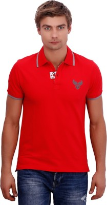 PUNCTUATE Solid Men's Flap Collar Neck Red T-Shirt