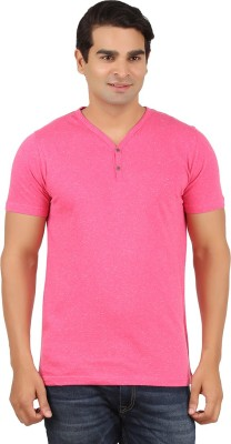 Orange and Orchid Solid Men's Henley Pink T-Shirt