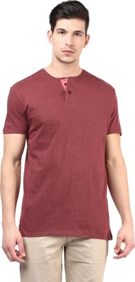 T-shirt Company Solid Men's Henley Red T-Shirt