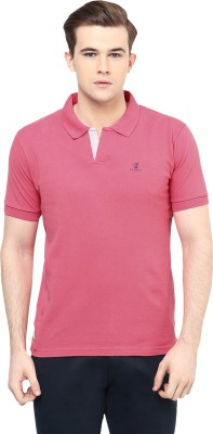 Ziera Solid Men's Polo Neck Pink T-Shirt