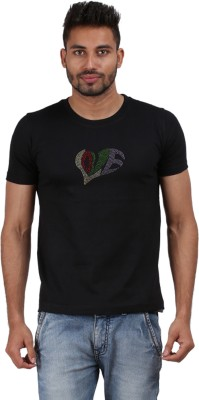 Xtees Self Design Men's Round Neck Black T-Shirt