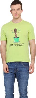 Filmwear Graphic Print Men's Round Neck Light Green T-Shirt