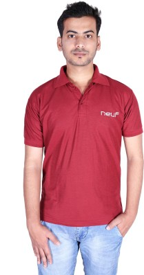 neuf Solid Men's Polo Neck Maroon T-Shirt