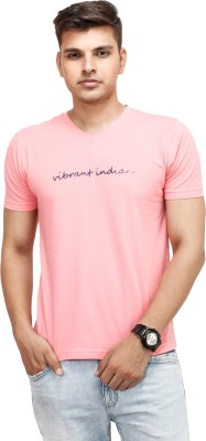 Yuvi Solid Men's V-neck Pink T-Shirt