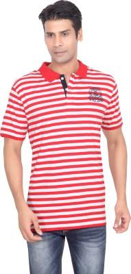 Stoke Striped Men's Polo Neck Red, White T-Shirt
