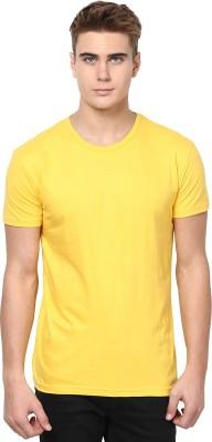 Unisopent Designs Solid Men's Round Neck Yellow T-Shirt