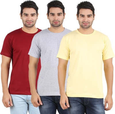 Heartin Beat Solid Men's Round Neck Yellow, Maroon, Grey T-Shirt
