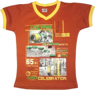 Saregama Printed Boy's V-neck T-Shirt