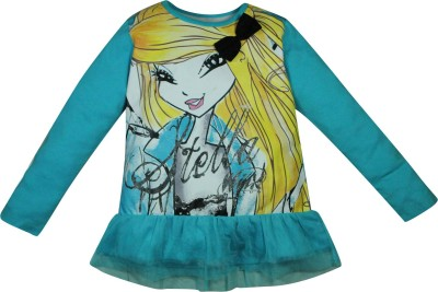 Winx Club Printed Girl's Round Neck Blue T-Shirt