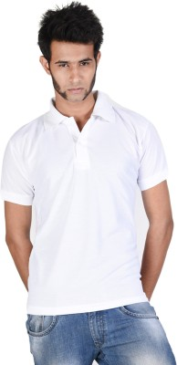 Whistle Solid Men's Polo Neck White T-Shirt