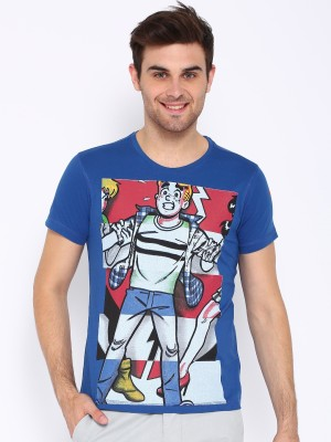 Kook N Keech Archie Printed Men's Round Neck Blue T-Shirt