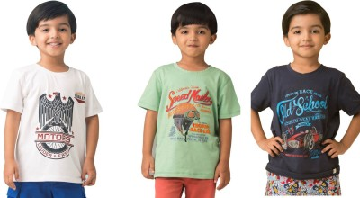 Bluebuck Printed Boy's Round Neck Multicolor T-Shirt