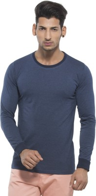 Alan Jones Solid Men's Round Neck Dark Blue T-Shirt