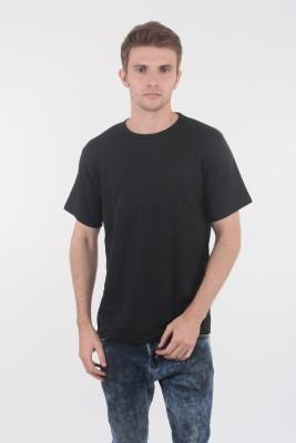 Escrow Solid Men's Round Neck Black T-Shirt