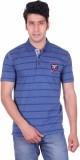 Deutz Striped Men's Polo Neck Blue T-Shi...