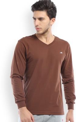 2go Solid Men's V-neck Brown T-Shirt