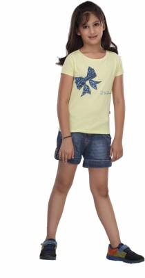 Trmpi Graphic Print Girl's Round Neck Yellow T-Shirt