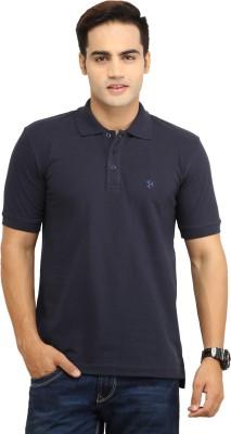 BepoyZ Solid Men's Polo Neck Dark Blue T-Shirt